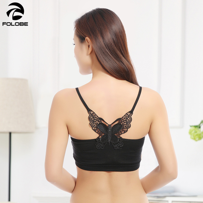 3ae6a50568 2019 Ladies Strapless Tops Back Butterfly Ladies Inner Underwear Sexy Solid  Black White Tube Top