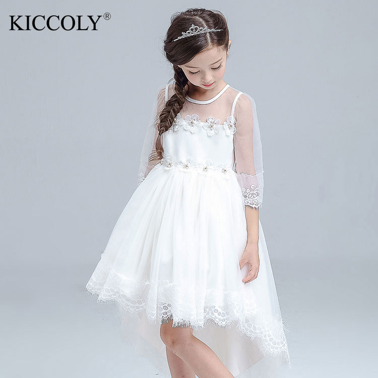 2017 New White Trailing Lace Flower Girl Dress Formal Bridesmaid Weddings Ball Gown Kids Party Communion Pageant Gown Vestidos 2017 puffy lace flower girl dress for weddings ball gown girl party communion pageant gown infant tutu princess vestidos d4