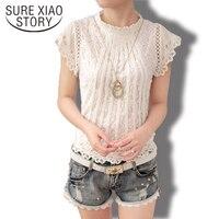 New 2016 Summer Fashion elegant solid Women Blouses Petal Sleeve Lace Chiffon O-neck Plus Size Shirt Tops 01C 35