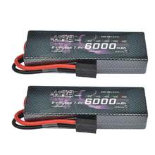 2pcs HRB RC Lipo Battery 6000mah 7.4V 2S 60C 120C Lithium polymer battery hard case for Traxxas Rustler 1:10 Car helicopter(China)