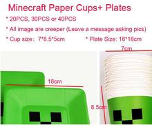 Free Shipping 20PCS 18*18cm JJ Creep Plate 7*8.5 Minecraft Paper Cup Party Supplies for Kid's Birthday Party Christmas Halloween