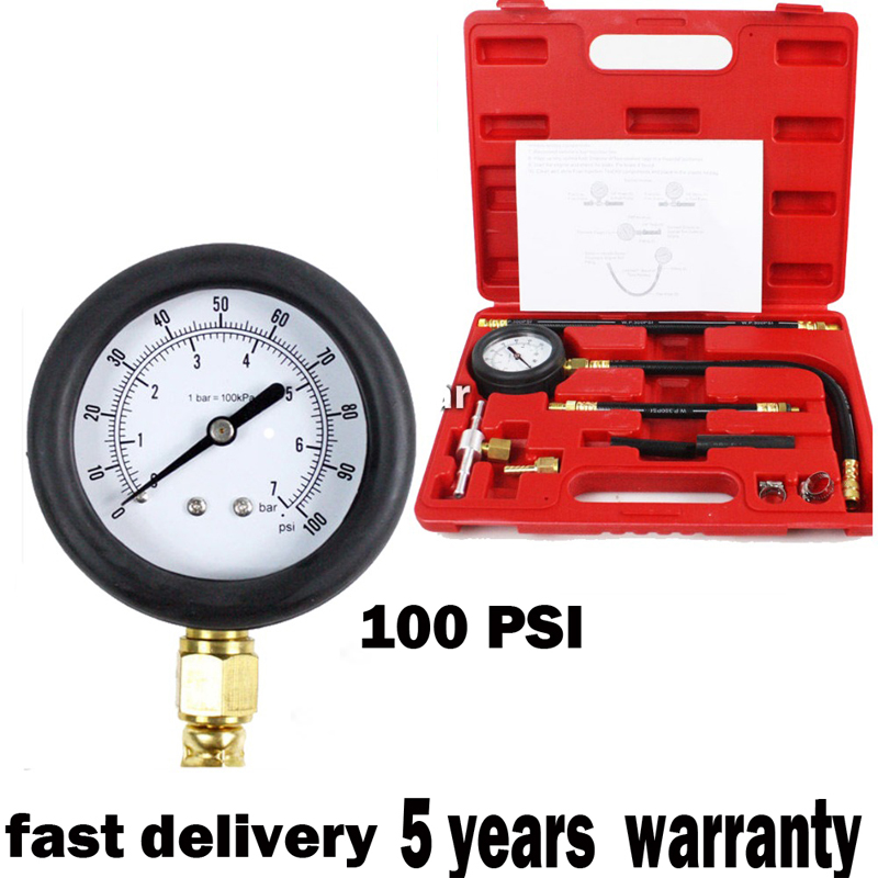 0-100 psi Auto Fuel Injection Pump Pressure Tester Kit Car Petrol Gas Engine Cylinder Compression Gauge Car Diagnostic Tool tu 15a car style diesel engine compression cylinder pressure tester gauge kit 0 1000psi dhl free shipping