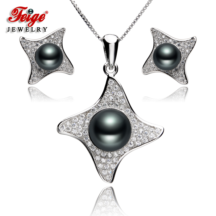 Vintage Pure 925 Sterling Silver Jewelry Sets for Women Party Jewelry Gifts Black Freshwater Pearl Jewellery Set Wholesale FEIGE-in Jewelry Sets from Jewelry & Accessories    1