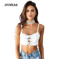 JTCWEAR Hot Sexy Lace Up Crop Tops White Sleeveless Night Club Party Girls Cropped Tank Top
