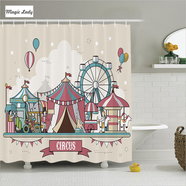 Shower Curtain Kids Bathroom Accessories Circus Collection Balloons Park Elephant Horse Pink Blue Home Decor 180