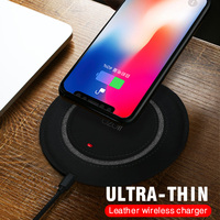 IIOZO Wireless Charger For IPhone X 8 8 Plus 5MM Ultra Thin Leather Fast QI Wireless