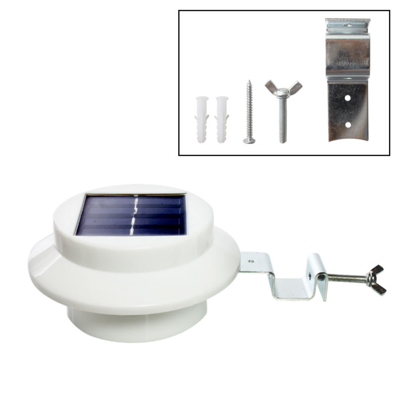 Outdoor Solar Powered Wall Lamp 3 LED White/Warm White Light Fence Gutter Garden Yard Roof Solar Sensor Lamp Bulb Waterproof yj 2338w 3w 350lm 6000k 60 led white light solar powered spotlight white 3 7v