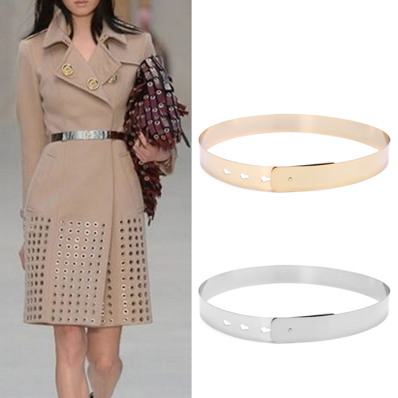 Women Punk Full Metal Mirror skinny Waist Belt 2016 Metallic Gold Plate 3cm Wide Chains Lady ceinture sashes for dresses