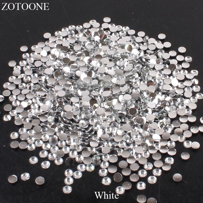 ZOTOONE 2-6 мм 1000 шт прозрачные Стразы AB без горячей фиксации плоские с оборота Стразы для ногтей для одежды ногти 3D дизайн ногтей украшения - Цвет: White