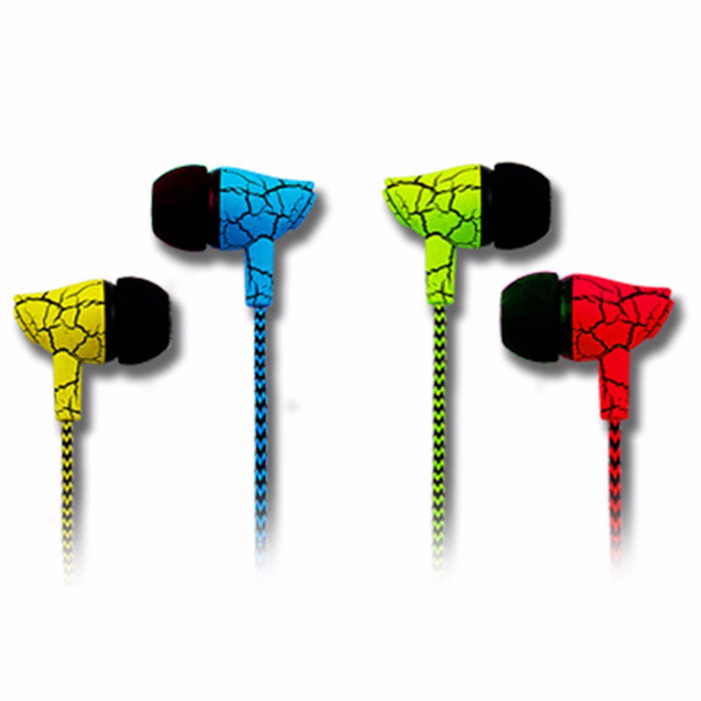 3.5mm Crack Style Braided Super Bass Earphone Headphones With Microphone Volume Voice Control Stereo Earbud for Samsung Xiaomi