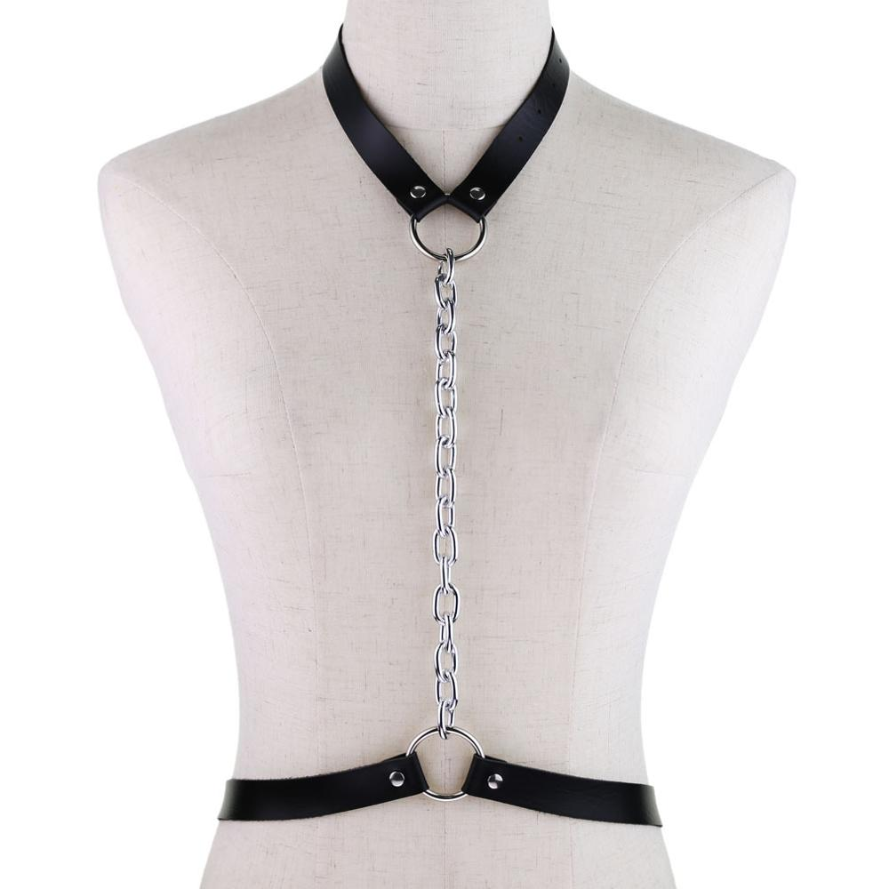 2019 New Punk Leather Harness Goth Body Chain Belts For Women Bondage Cage Gothic Straps Chain Necklace Jewelry Rave Outfit