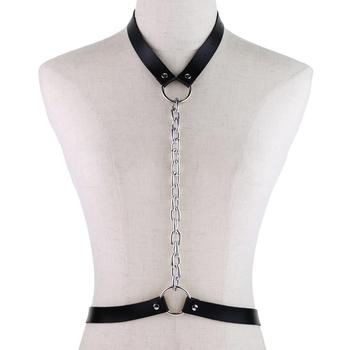 2019 nowy Punk skórzana uprząż goth łańcuszek pasy dla kobiet Bondage Cage Gothic pasy naszyjnik łańcuch biżuteria rave strój tanie i dobre opinie Dla dorosłych Metal WOMEN Moda Stałe CYDOO33-556
