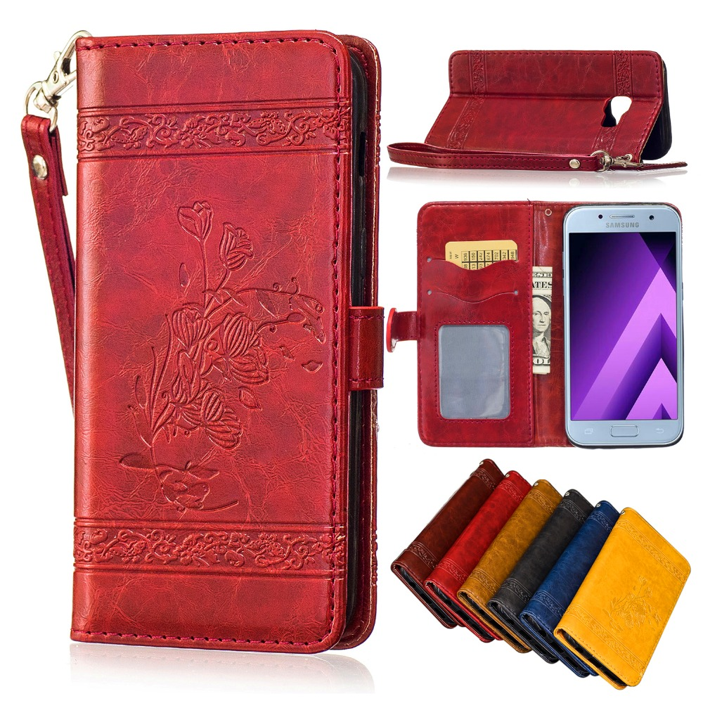 Genuine Leather Wallet Luxury Retro Mobile phone holster For <font><b>Samsung</b></font> <font><b>Galaxy</b></font> A3 A5 <font><b>2016</b></font> 2017 J3 J5 J7 plime 0N5 ON7 Flip <font><b>Case</b></font> image