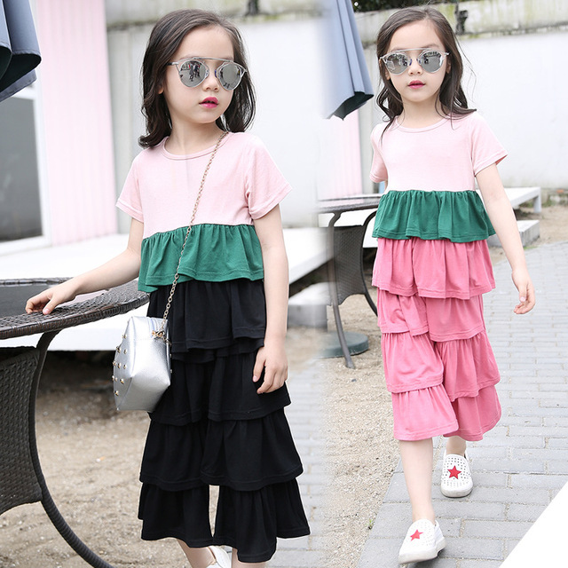 Girls Clothing Sets Summer Short T shirt Pants Patchwork Kids Tracksuit Children Costume Teenage Baby Girls Clothes 10 12 Year