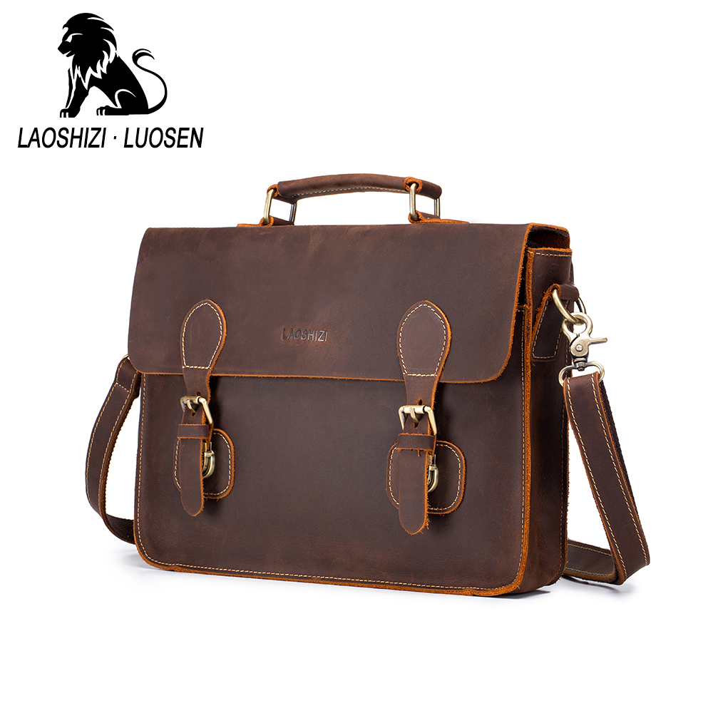 LAOSHIZI LUOSEN Vintage devrait sac en cuir véritable Messenger sac Crazy Horse cuir sac 91210