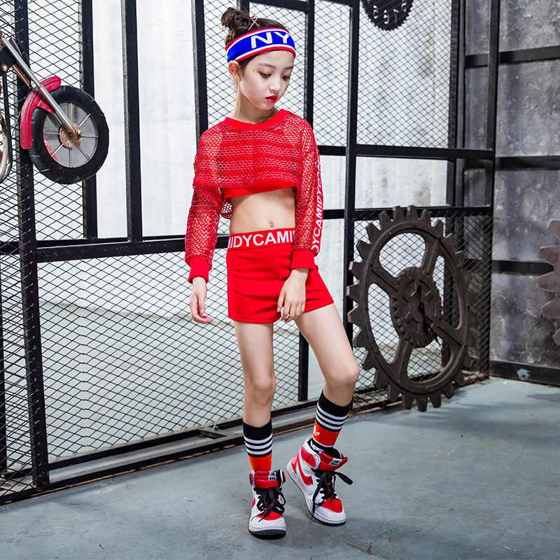 Traje de baile rojo Hip-hop para niños, ropa de baile callejero moderna de Midriff-baring, ropa para niña, Chico, ropa para actuación de baile de Jazz, atuendo para DJ