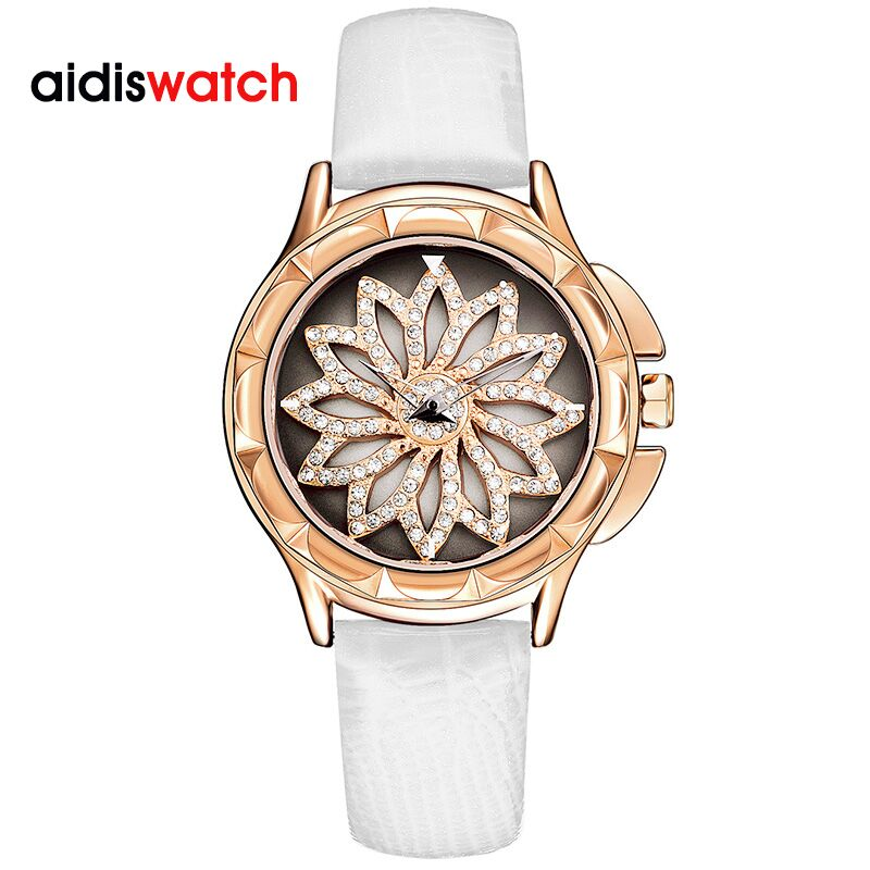 Rhinestone Watches Ladies Genuine Leather Women Watch Luxury Dress Girls Wristwatch Fashion Business Quartz Clock Montre Femme megir top brand luxury men quartz watch stainless steel band men fashion business watches men leisure clock relogio masculino