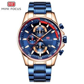 MINI FOCUS Luxury Brand Men Watches Stainless Steel Fashion Men's Wristwatch Quartz Watch Mens Waterproof Relogio Masculino Blue 3