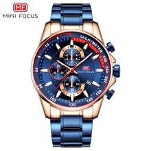 Часы наручные MINI FOCUS Мужские кварцевые, роскошные брендовые модные водонепроницаемые из нержавеющей стали, синие