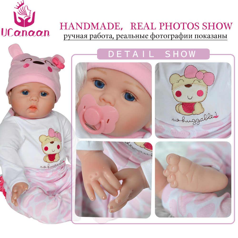 UCanaan 55 CM Silicone Boneca Reborn Brinquedos Para As Crianças Do Bebê Recém-nascido Pano Artesanal Bebê Corpo Vivo Bonecas Para Meninas coleção