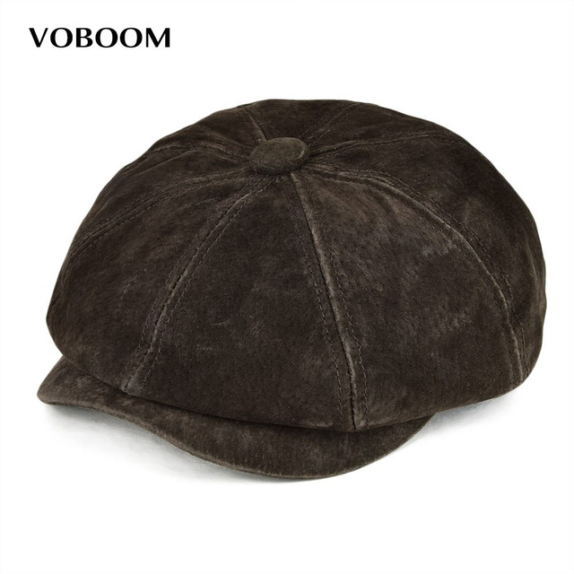 VOBOOM Genuine Leather Newsboy Caps Men Women Real Authentic Pigskin Frosted Feel Breathable 8 Panel Hats for Autumn Winter 152