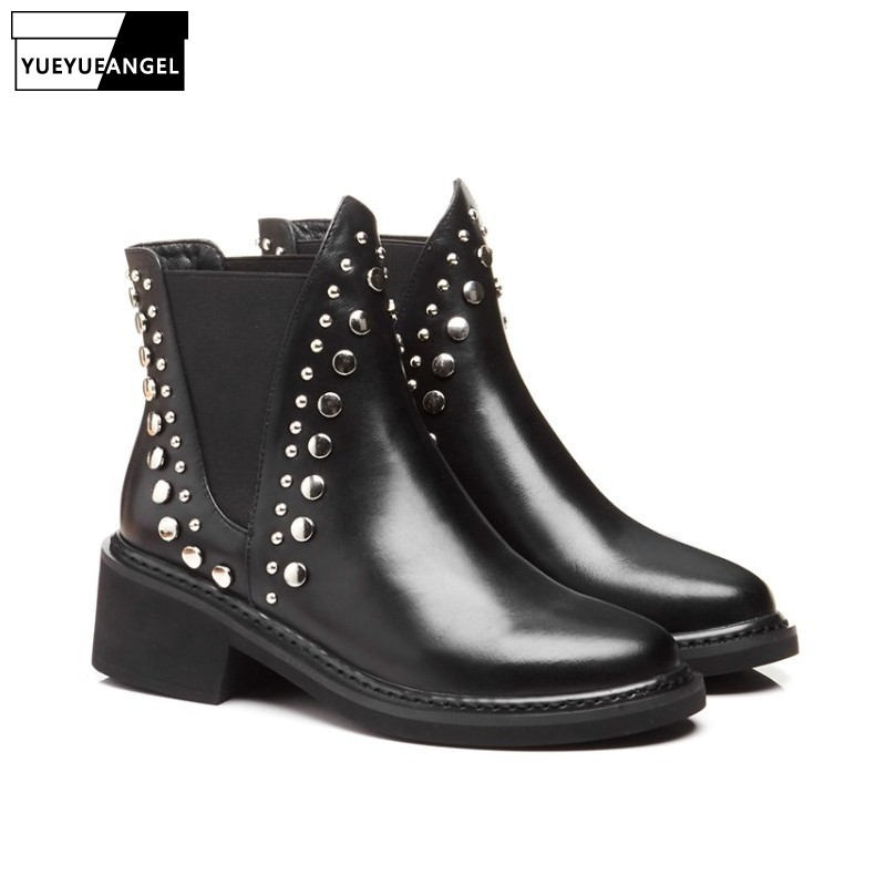 2019 Women Shoes Round Toe Genuine Leather Punk Femme Chelsea Boots Rivet Thick Heels Motorcycle Shoes Free Shipping2019 Women Shoes Round Toe Genuine Leather Punk Femme Chelsea Boots Rivet Thick Heels Motorcycle Shoes Free Shipping