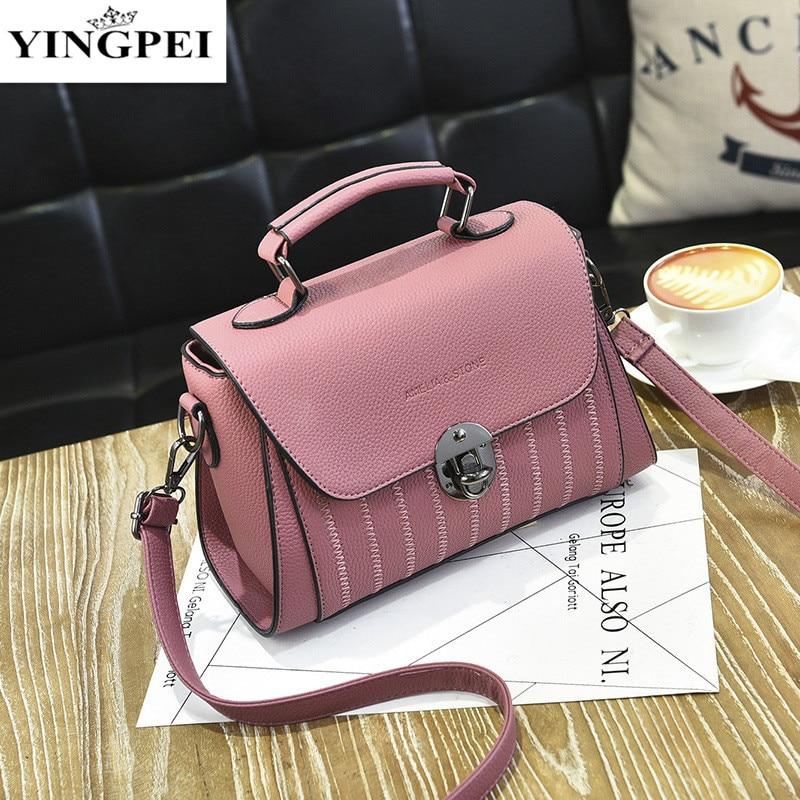 YINGPEI Brand Women PU leather Crossbody Shoulder student Messenger Bag Top-Handle Women Fashion small bags Female Designer
