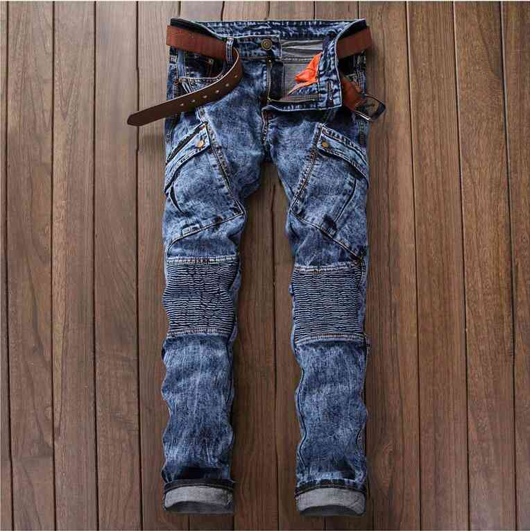 #2766 2016 Spring famous brand Ripped jeans for men Jeans masculino Skinny Mens biker jeans Distressed Hip hop jeans Jogger