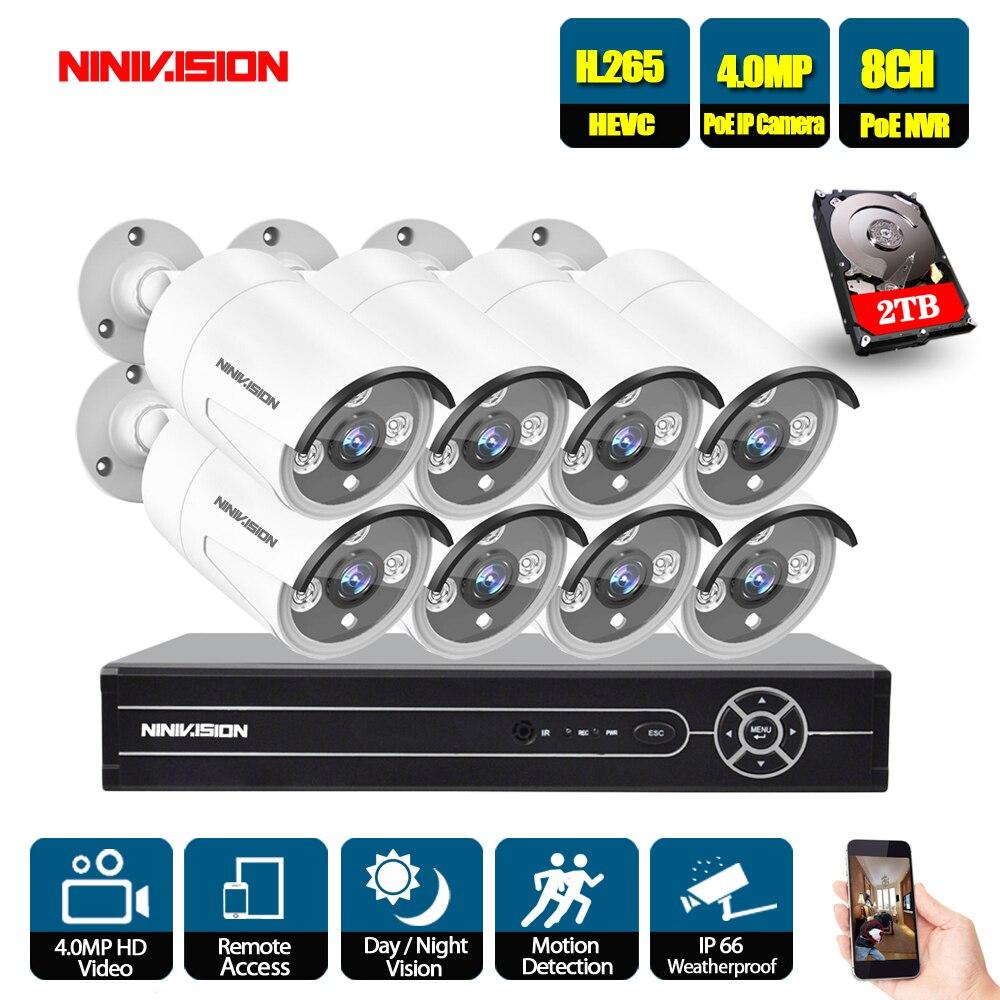 8CH 5MP 1080 p 4 k HDMI POE NVR Kit CCTV Caméra Système 4.0MP Extérieure de Sécurité IP Caméra P2P Vidéo système de Surveillance Ensemble 2 tb HDD