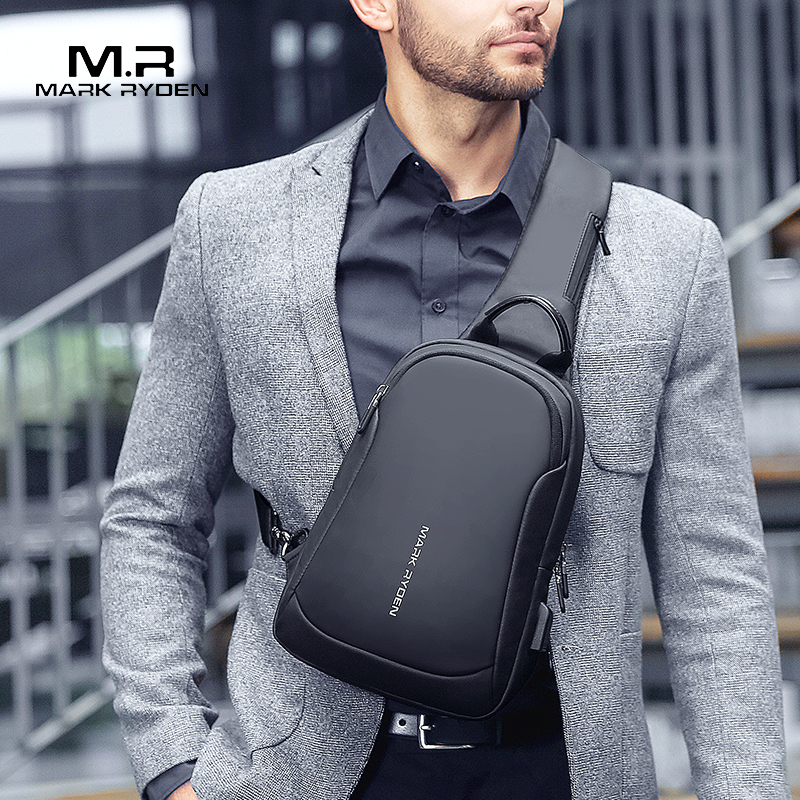 Mark Ryden Multifunction Crossbody Men Bags Waterproof USB Charging Chest Pack Short Trip Messengers Chest Bag Shoulder Bag Male(China)