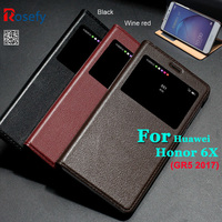 Genuine Real Natural Cow Leather Flip Cover Case For Huawei Honor 6X GR5 2017 Window Book