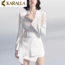 Белый v-образный вырез с длинными рукавами костюм куртка+ Высокая талия Стандартная юбка два-кусок костюм наборы женская повседневная одежда C433