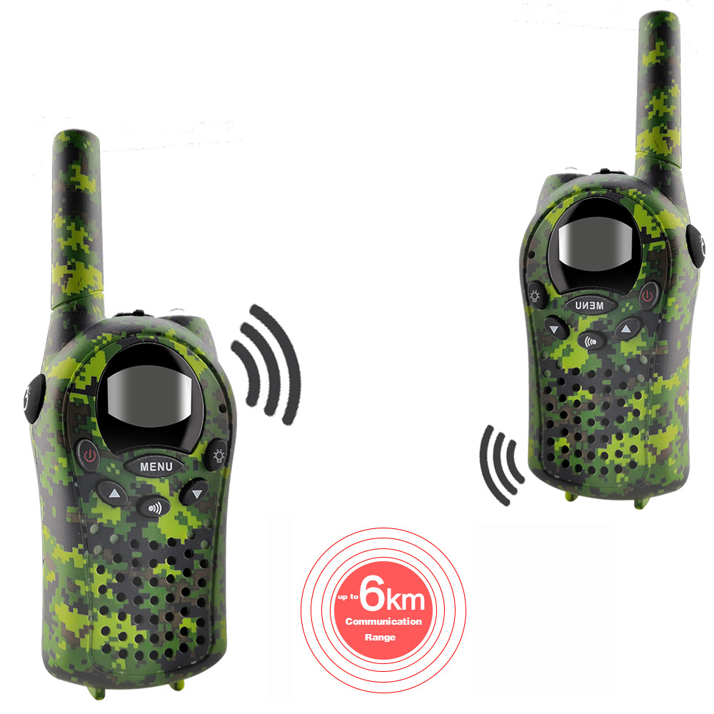 2PCS/Set Kids Walkie Talkies Mini Two Way Radios Intercom Green Camo 22 Channel 446MHZ FRS Toys Interphone for Children-in Walkie Talkie from Cellphones & Telecommunications