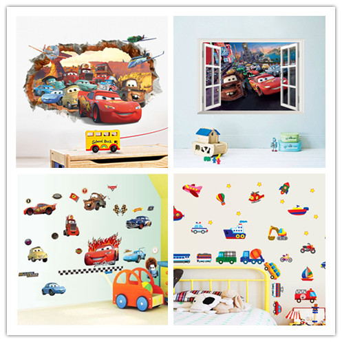 Diy movie cars wall stickers for for kid rooms bedroom for Bedroom 3d wall stickers