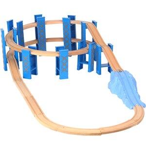 Image 4 - Vías de tren en espiral de plástico para niños, 26 Uds., accesorios de vía férrea de madera, pistas de puente con ajuste, Thoma Biro, Juguetes