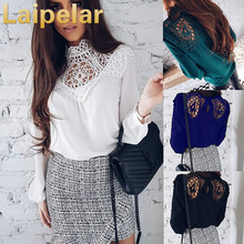 Laipelar Spring Women Chiffon Tops Blouse 2018 New Fashion Sexy Long Sleeve Hollow Out Casual Shirt Loose Lady Lace