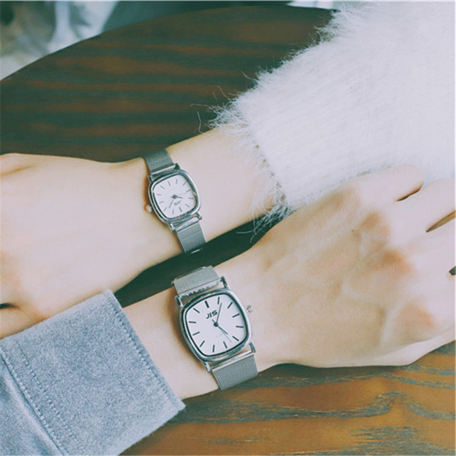 2018 Watch Couple Fashion Watch Square Dial Stainless Steel Ultra Thin Silver Cl