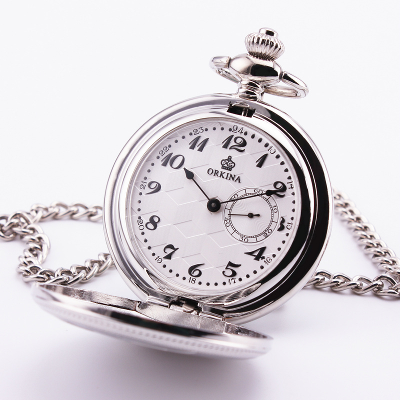 ORKINA Retro Pocket Watch Big Number white yellow Dial Rhombic Pattern Silver Case Simultaneous Sub dial