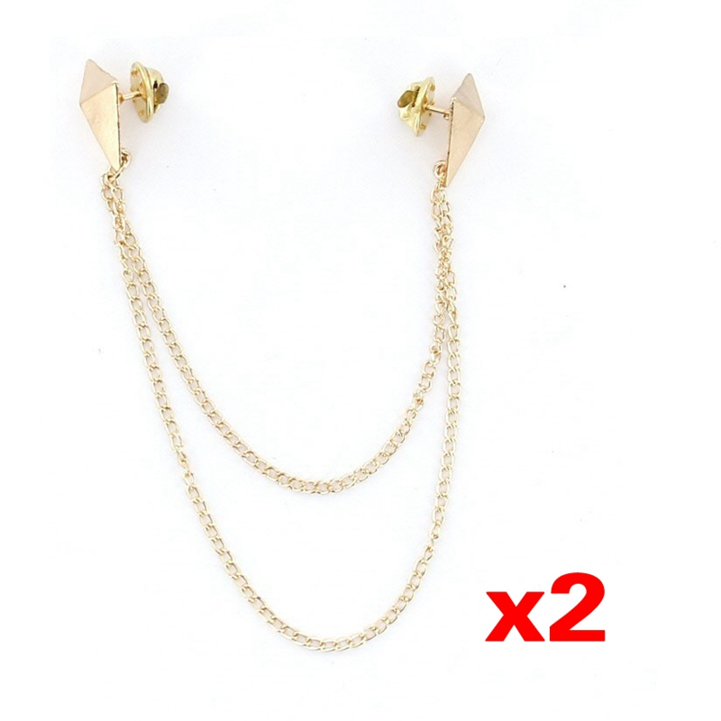 2Pcs  Punk Brooch Collar Chain Necklace Collar Clip---Gold