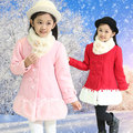 Girls Winter Wool Coats 2016 New Girls Winter & Autumn & Spring Children'S Long Woolen Coat With Fur Scarf Fashion Warm Clothing