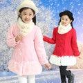 Niñas Abrigos de Lana de Invierno 2016 Nuevas Muchachas de Invierno y Otoño y Niños del resorte de Lana Largas Escudo Con La Bufanda de Piel de Moda Ropa de Abrigo