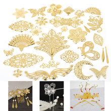 New Fashion 10Pcs Gold/Rhodium/Bronze Metal Crafts Connectors Metal Filigree Flowers Slice Charms Jewelry Making DIY Accessories(China)