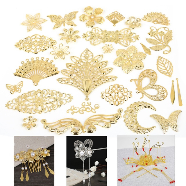 New Fashion 10Pcs Gold/Rhodium/Bronze Metal Crafts Connectors Metal Filigree Flowers Slice Charms Jewelry Making DIY Accessories