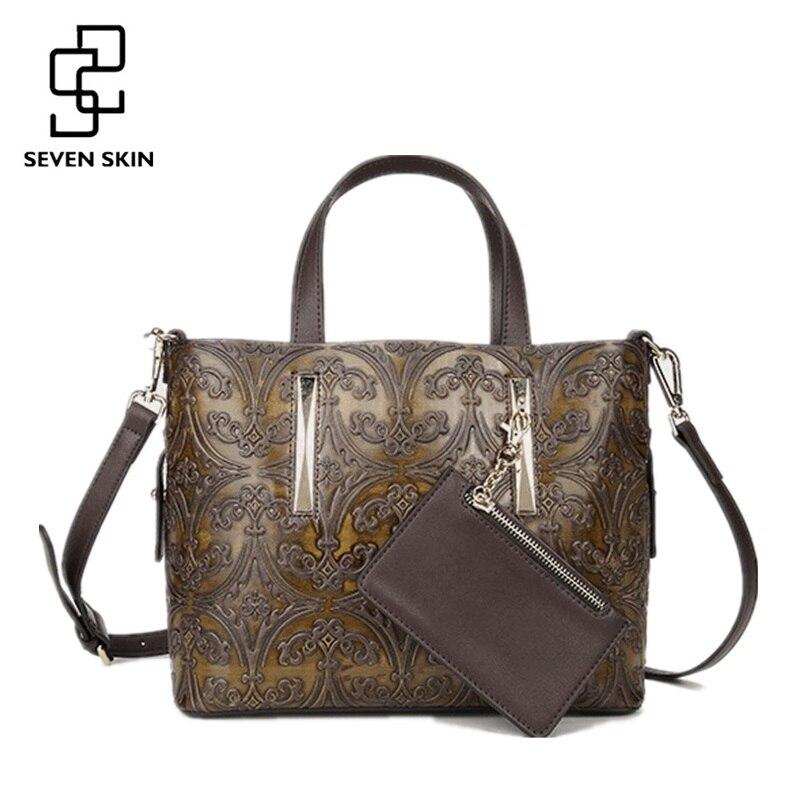 SEVEN SKIN 2018 Women Famous Brand Top-Handle Bags Fashion Design Flower Print Leather Handbag Female Shoulder Bag Casual Tote cactus print cold shoulder top