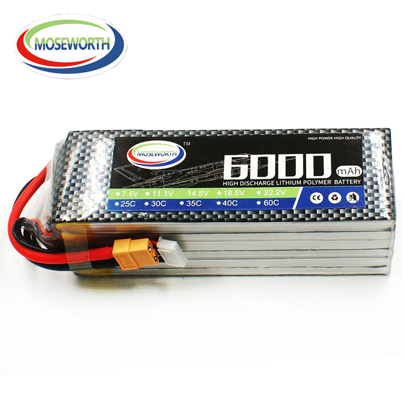 MOSWORTH RC Toy <font><b>Lipo</b></font> Battery <font><b>6S</b></font> 22.2V <font><b>6000mAh</b></font> 60C-120C For RC Quadcopter Drone Airplane Helicopter Boat Truck <font><b>6S</b></font> <font><b>Lipo</b></font> Battery image