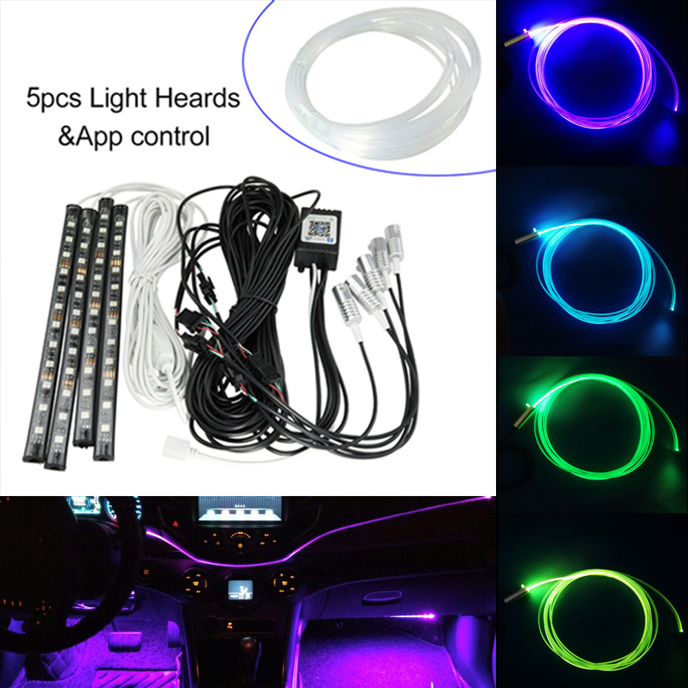 3mm 9M Side Glow Cable  RGB DC 12V Car Decorative Light Fiber Optic Car With 4pcs Car Interior Lights By  APP Controller