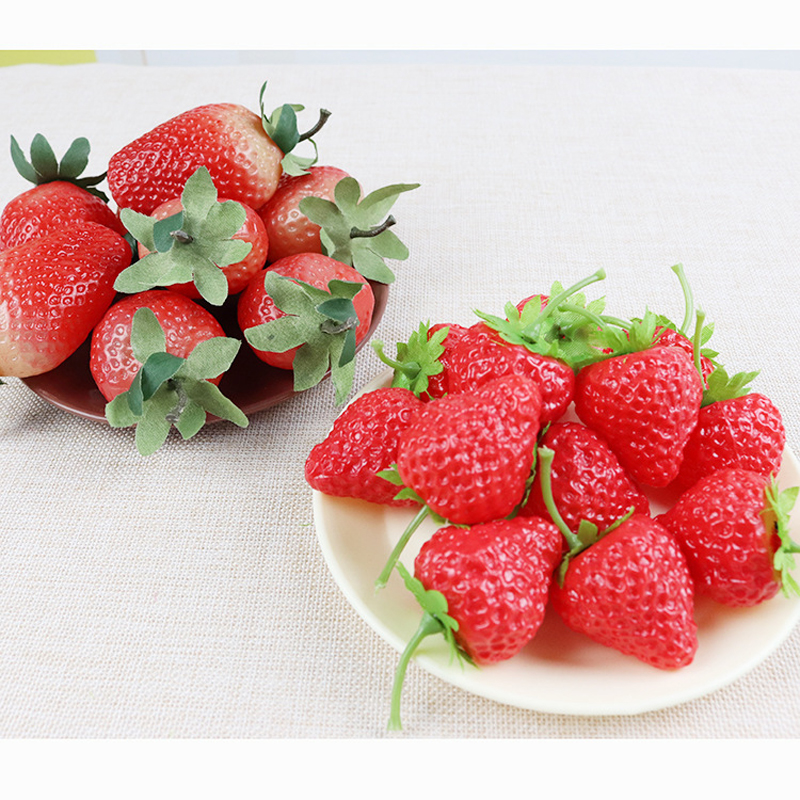 20pcs / 3pcs Artificial Fruit Fake Strawberry Plastic Simulation Strawberry Ornament Craft Photography Props Window Decoration