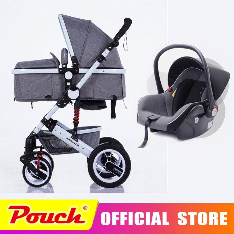 Oley bébé transport haute paysage peut s'asseoir ou de s'allonger choc hiver enfants bébé poussette avec siège de voiture livraison gratuite à la russie