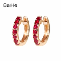 BAIHE Solid 14 К розовое золото 0.5ct H/SI круглый 100% натуральная Природный Рубин Обручение Мода Fine Jewelry Элегантный подарок серьги