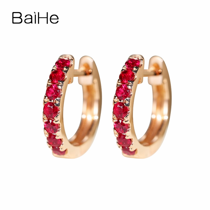 BAIHE Solid 14K Rose Gold 0.5ct H/SI Round 100% Genuine Natural Ruby Engagement Trendy Fine Jewelry Elegant Gift Stud Earrings natural ruby stud earrings solid 18k rose gold women earrings engagement wedding valentine gift fine jewelry trendy unqiue heart